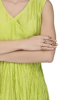 Set Of 4 Gold Plated Palki Guard Rings by Raabta