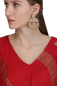 Gold Plated Lotus Pearl Earrings by Raabta