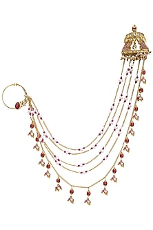 Gold Plated Beaded Chains Nose Ring by Raabta