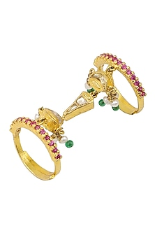 Gold Plated Shehnai and Tabla Motif Knuckle Ring by Raabta