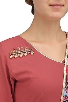 Gold Plated Pearls Pocket Brooch by Raabta