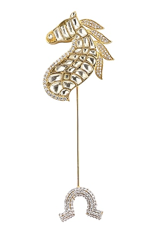 Gold Plated Horse Shoe Lapel Pin by Raabta