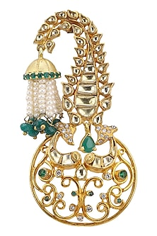 Gold Plated Emeralds and Pearls Brooch by Raabta