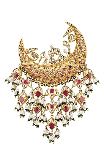 Gold Plated Semi Precious Stones Crescent Passa by Raabta