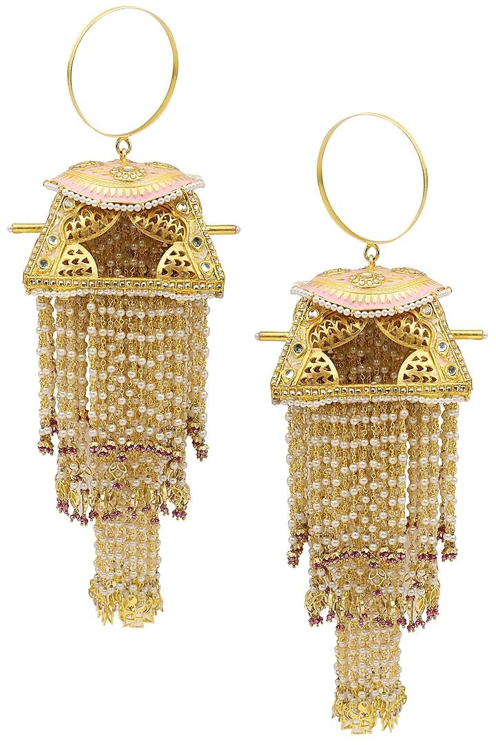 Gold Plated Pink Palki Kaleeras by Raabta