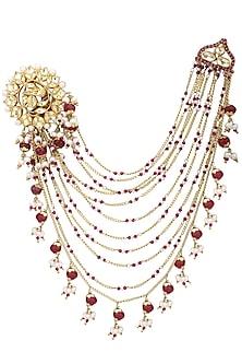 Gold Plated Kundan, Pearls and Ruby Suspender Earrings by Raabta