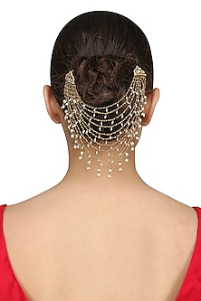 Gold Plated Rice Pearls Hair Accessory by Raabta