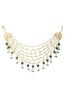 Gold Plated Rice Pearls and Green Onyx Hair Accessory by Raabta