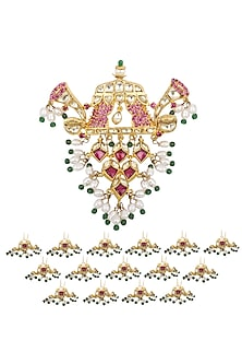 Gold Plated Hair Brooch with Lotus Bud Hair Pins by Raabta