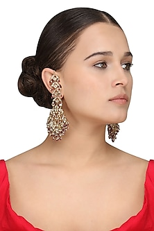 Gold Plated Kundan and Ruby Jadau Earrings by Raabta