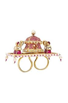 Gold Plated Kundan and Pearls Rotating Palanquin Ring by Raabta