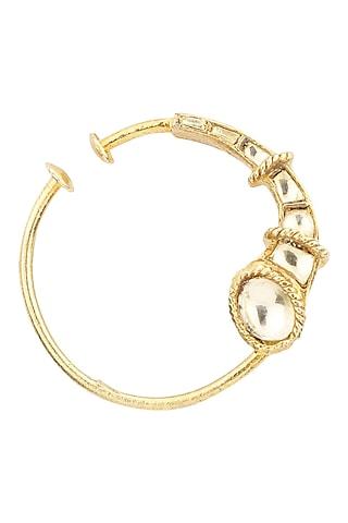 Gold Plated Kundan Nose Ring by Raabta