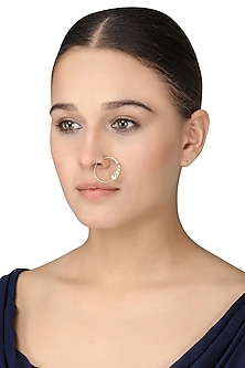 Gold Plated Kundan Nose Ring by Raabta
