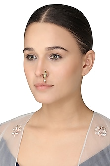Gold Plated Rice Pearls Nose Ring by Raabta