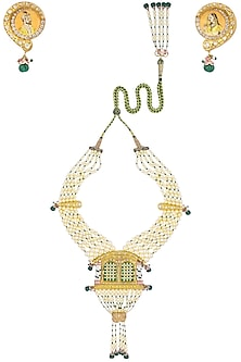 Gold Plated Kundan and Pearls Openable Palanquin Necklace Set by Raabta