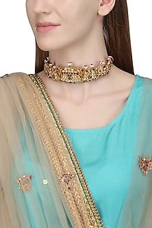 Gold Plated White and Red Kundan Choker Necklace by Raabta