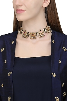 Gold Plated Kundan and Ghungroo Choker Necklace by Raabta