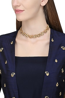 Gold Plated Kundan Stones Choker Necklace by Raabta