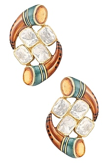 Gold Plated Kundan Stone Earrings by Raabta