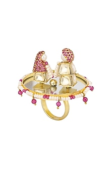 Gold Plated Rotating Garland Ring by Raabta