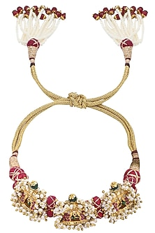 Gold Plated Kundan and Pearls Arm Band by Raabta