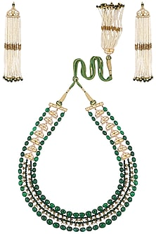 Gold Plated Pearls and Green Onyx Necklace Set by Raabta