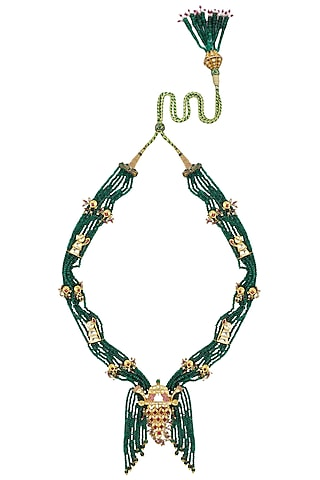 Gold Plated Green Onyx Palanquin Necklace by Raabta