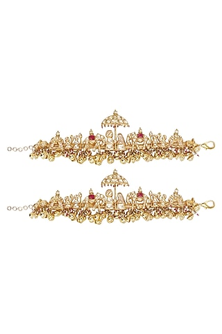 Gold Plated Bride and Groom Motif Anklets by Raabta