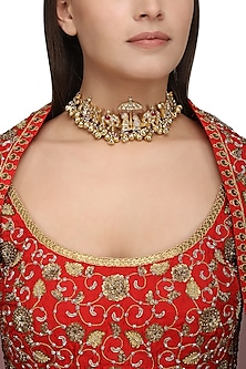 Gold Plated Kundan and Ghungroo Bride and Groom Choker Necklace by Raabta
