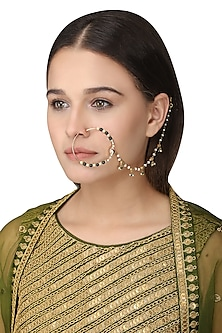 Gold Plated Green Onyx Tabla Nose Ring by Raabta