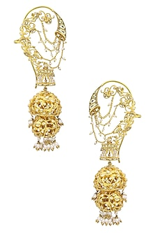 Gold Plated Kundan and Pearls Shehnai Earrings by Raabta