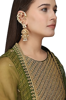 Gold Plated Kundan and Pearls Shehnai Earrings by Raabta