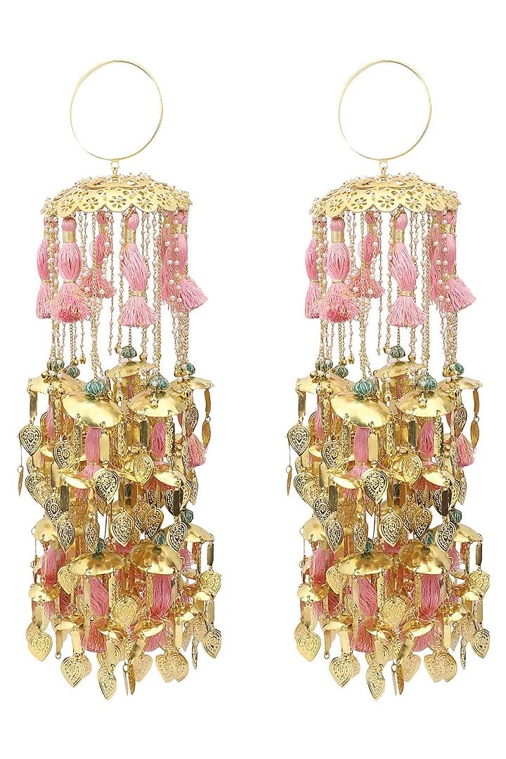 Gold Plated Jaali Work Pearls and Tassel Kaleeras by Raabta