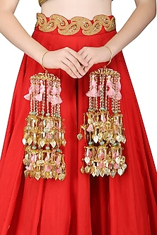 Gold Plated Jaali Work Pearls and Tassel Kaleeras by Raabta