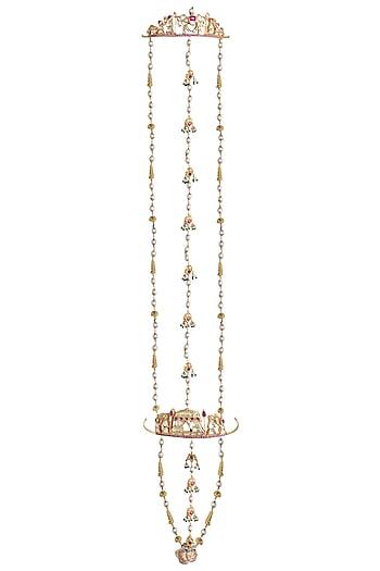 Gold Plated Polki Ring Bracelet by Raabta