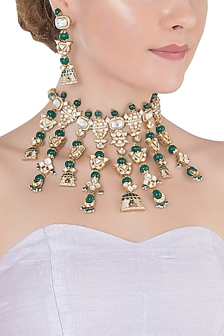 Gold Plated Polki Necklace Set by Raabta