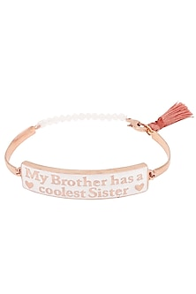 Rose Gold Plated 'My Brother Has A Coolest Sister' Rakhi by Raabta
