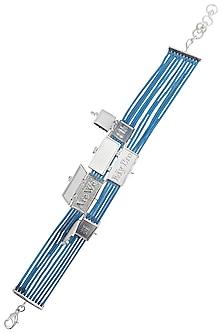 Silver Plated Blue Thread Embossed Rakhi by Raabta
