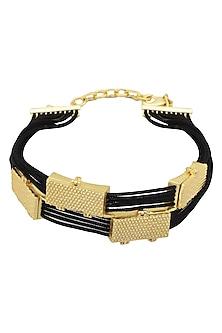 Gold Plated Black Thread Embossed Rakhi by Raabta