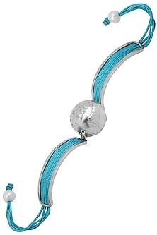 Silver Plated Turquoise Thread Globe Rakhi by Raabta