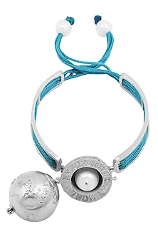 Silver Plated Turquoise Thread Globe Rakhi by Raabta