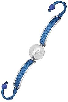 Silver Plated Blue Thread Globe Rakhi by Raabta
