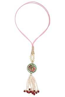 Pink Tanjore Quartz with Tassels Rakhi by Raabta-BEST SELLERS