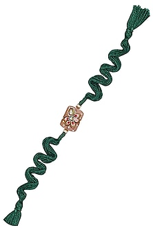 Green Tanjore Quartz Thread Rakhi by Raabta