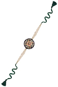 Green Thread String Tanjore Quartz Stone with Floral Motif Rakhi by Raabta