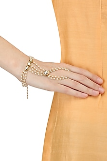 Set Of 2 Gold Plated Pearl Hand Harness by Raabta