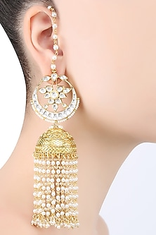 Gold Plated Kundan Jhumki Piroi Earrings by Raabta