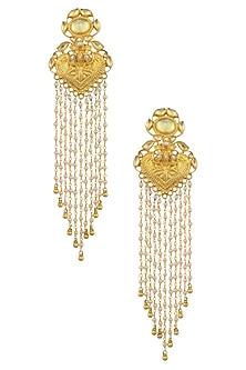Gold Plated Temple Motif Jhalar Earrings by Raabta