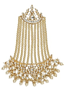 Gold Plated Kundan And Shell Pearls Studded Royal Persian Paasa by Raabta