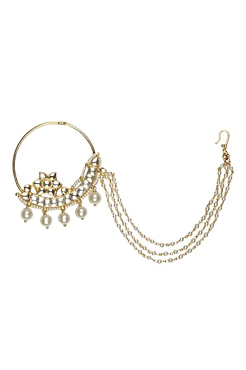 Gold Plated Handcrafted Kundan Embellished Pearl String Mughal Nath by Raabta